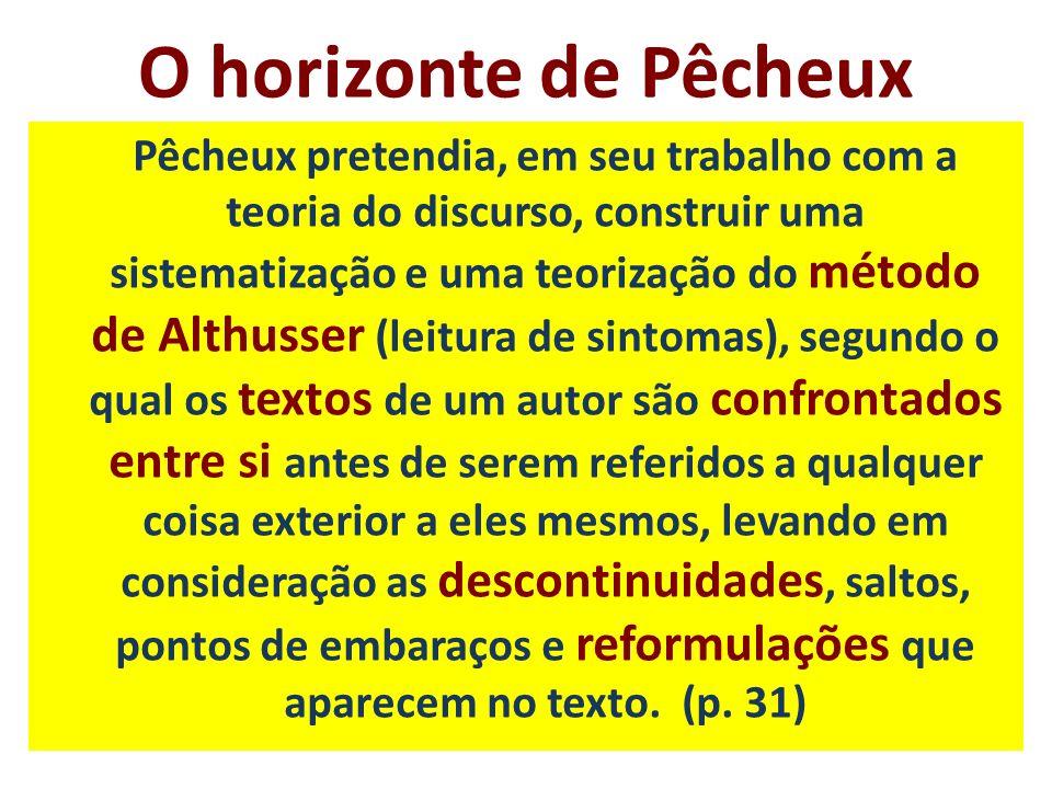 O horizonte de Pêcheux Pêcheux pretendia, em seu trabalho com a teoria do discurso, construir uma sistematização e uma teorização do método de Althuss