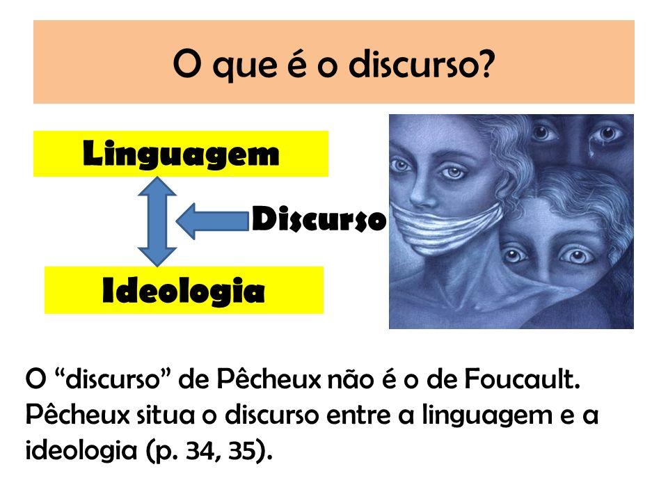 O que é o discurso? Linguagem Ideologia Discurso O discurso de Pêcheux não é o de Foucault. Pêcheux situa o discurso entre a linguagem e a ideologia (