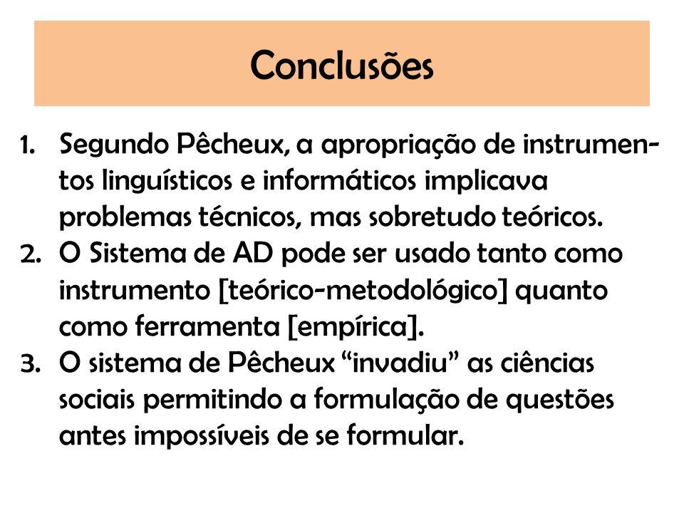 Conclusões 1.Segundo Pêcheux, a apropriação de instrumen- tos linguísticos e informáticos implicava problemas técnicos, mas sobretudo teóricos. 2.O Si