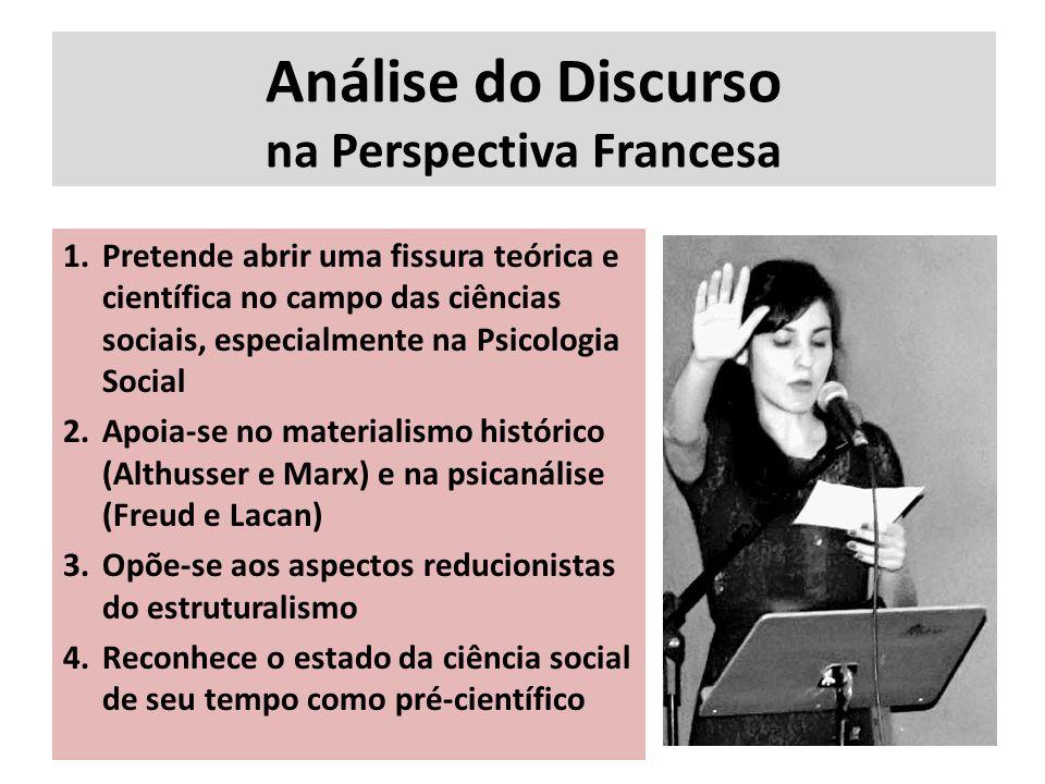 Análise do Discurso na Perspectiva Francesa 1.Pretende abrir uma fissura teórica e científica no campo das ciências sociais, especialmente na Psicolog