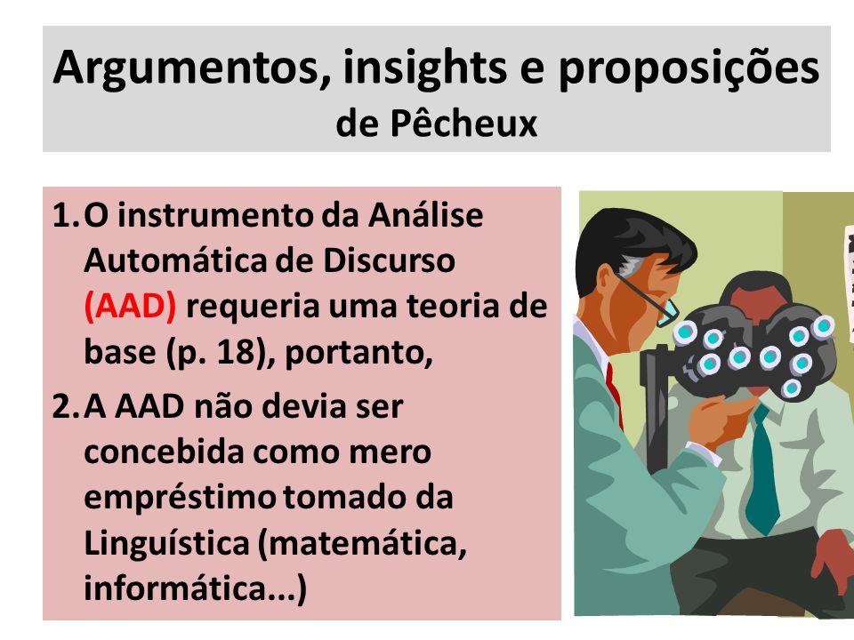 Argumentos, insights e proposições de Pêcheux 1.O instrumento da Análise Automática de Discurso (AAD) requeria uma teoria de base (p. 18), portanto, 2