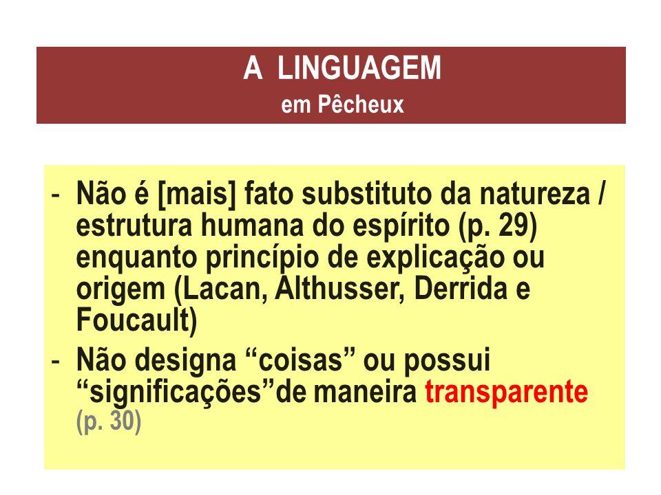 A LINGUAGEM em Pêcheux - Não é [mais] fato substituto da natureza / estrutura humana do espírito (p. 29) enquanto princípio de explicação ou origem (L
