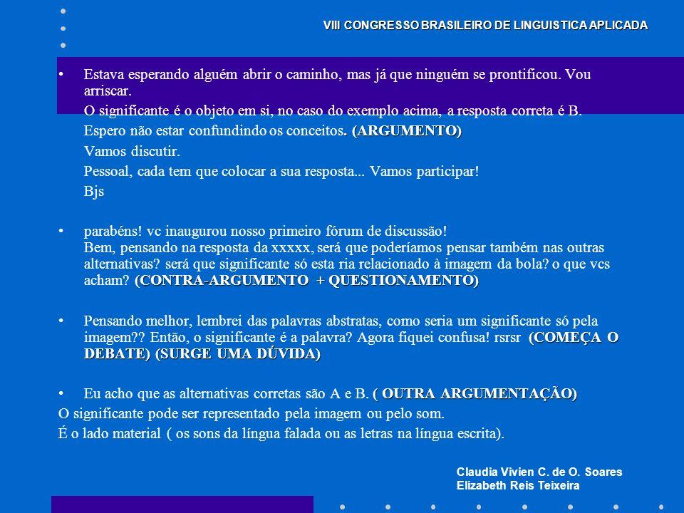 Claudia Vivien C. de O. Soares Elizabeth Reis Teixeira VIII CONGRESSO BRASILEIRO DE LINGUISTICA APLICADA Estava esperando alguém abrir o caminho, mas