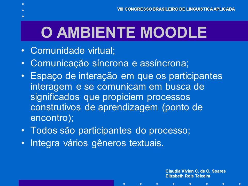 Claudia Vivien C. de O. Soares Elizabeth Reis Teixeira VIII CONGRESSO BRASILEIRO DE LINGUISTICA APLICADA O AMBIENTE MOODLE Comunidade virtual; Comunic