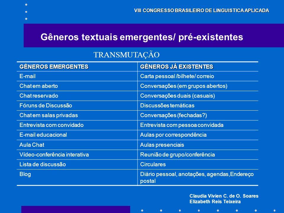 Claudia Vivien C. de O. Soares Elizabeth Reis Teixeira VIII CONGRESSO BRASILEIRO DE LINGUISTICA APLICADA Gêneros textuais emergentes/ pré-existentes G