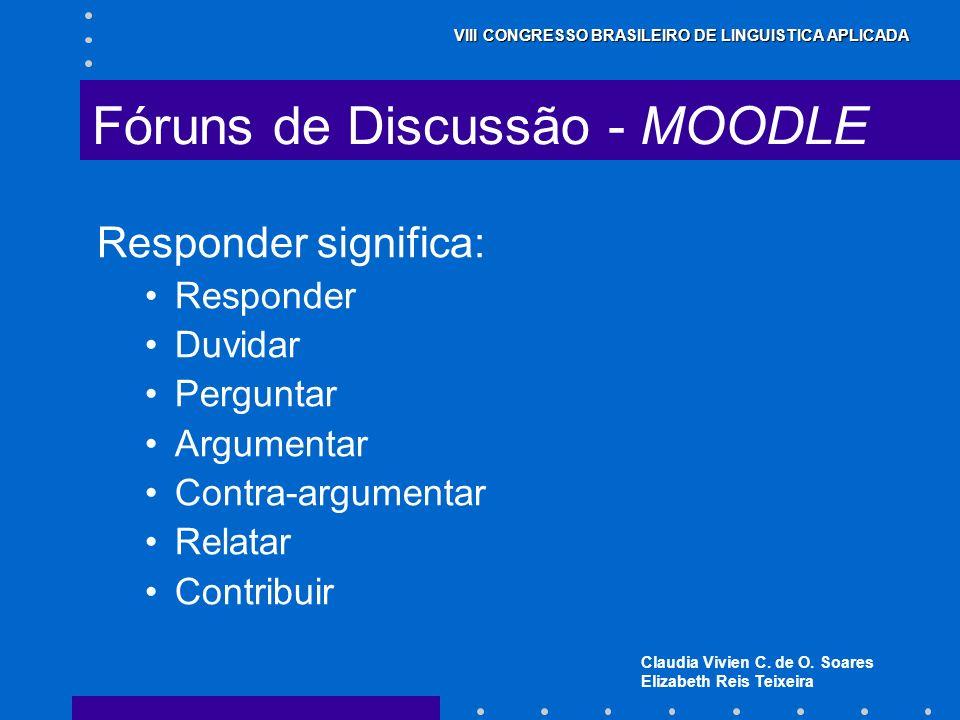 Claudia Vivien C. de O. Soares Elizabeth Reis Teixeira VIII CONGRESSO BRASILEIRO DE LINGUISTICA APLICADA Fóruns de Discussão - MOODLE Responder signif