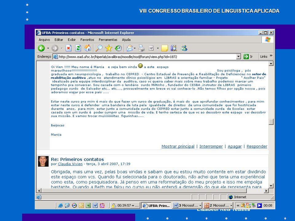 Claudia Vivien C. de O. Soares Elizabeth Reis Teixeira VIII CONGRESSO BRASILEIRO DE LINGUISTICA APLICADA