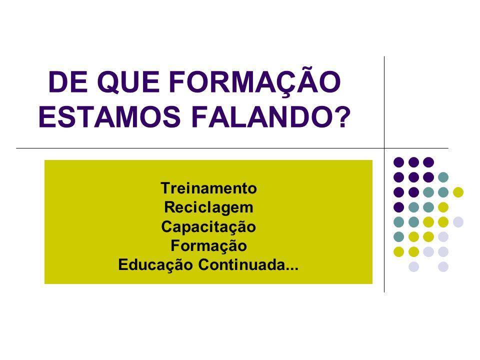 DE QUE FORMAÇÃO ESTAMOS FALANDO? Treinamento Reciclagem Capacitação Formação Educação Continuada...