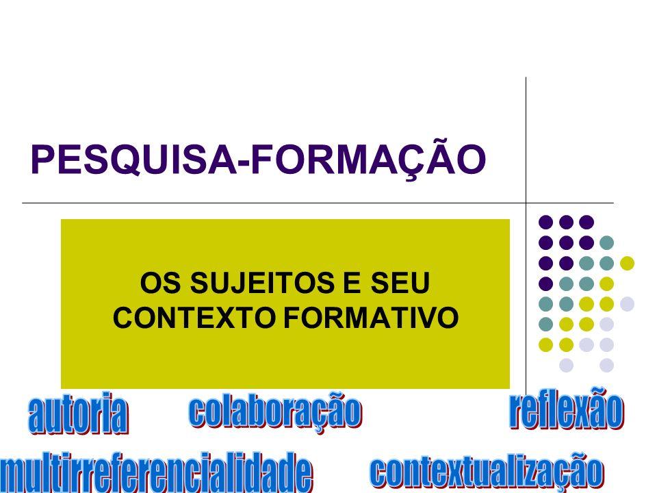PESQUISA-FORMAÇÃO OS SUJEITOS E SEU CONTEXTO FORMATIVO