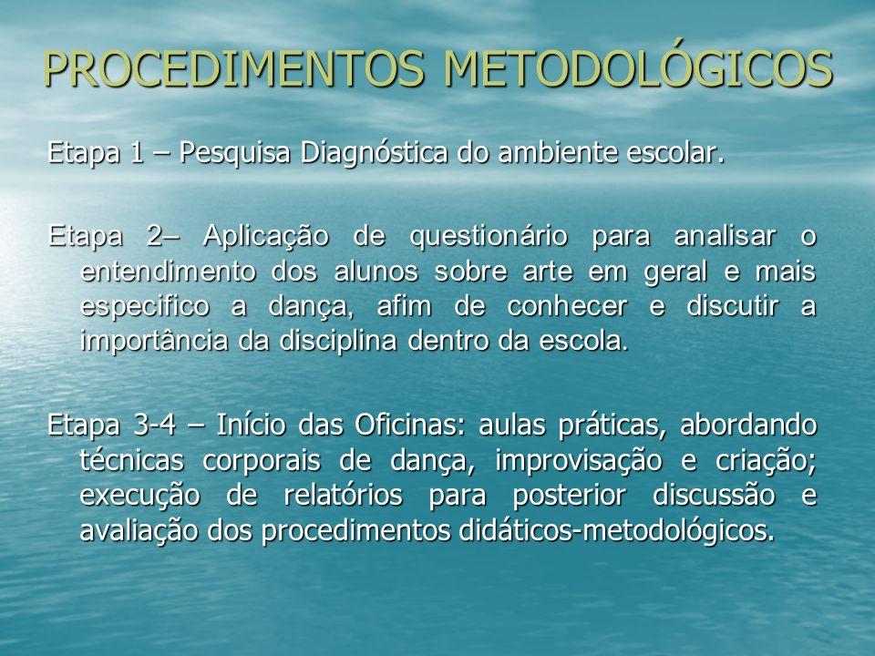 PROCEDIMENTOS METODOLÓGICOS Etapa 1 – Pesquisa Diagnóstica do ambiente escolar. Etapa 2– Aplicação de questionário para analisar o entendimento dos al