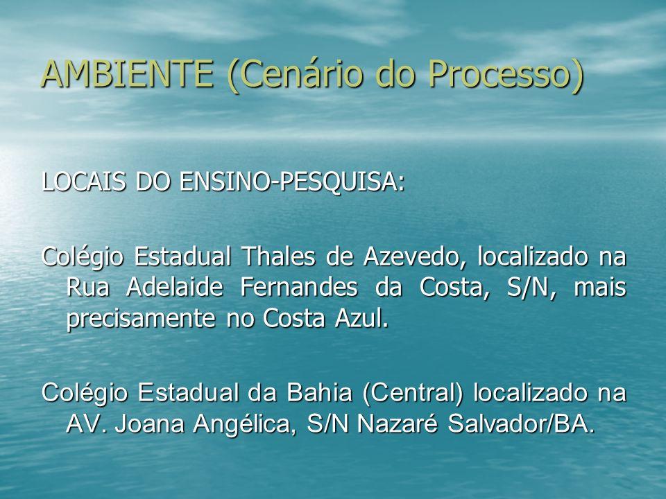 AMBIENTE (Cenário do Processo) LOCAIS DO ENSINO-PESQUISA: Colégio Estadual Thales de Azevedo, localizado na Rua Adelaide Fernandes da Costa, S/N, mais