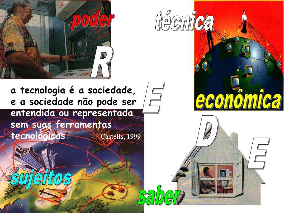 a tecnologia é a sociedade, e a sociedade não pode ser entendida ou representada sem suas ferramentas tecnológicas Castells, 1999