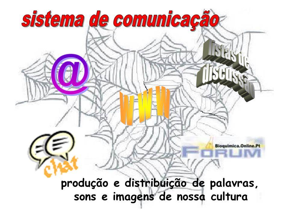 produção e distribuição de palavras, sons e imagens de nossa cultura