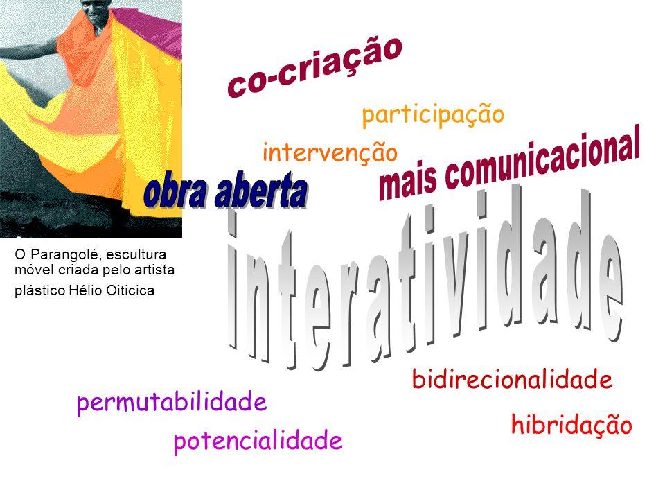bidirecionalidade participação permutabilidade potencialidade hibridação intervenção O Parangolé, escultura móvel criada pelo artista plástico Hélio O