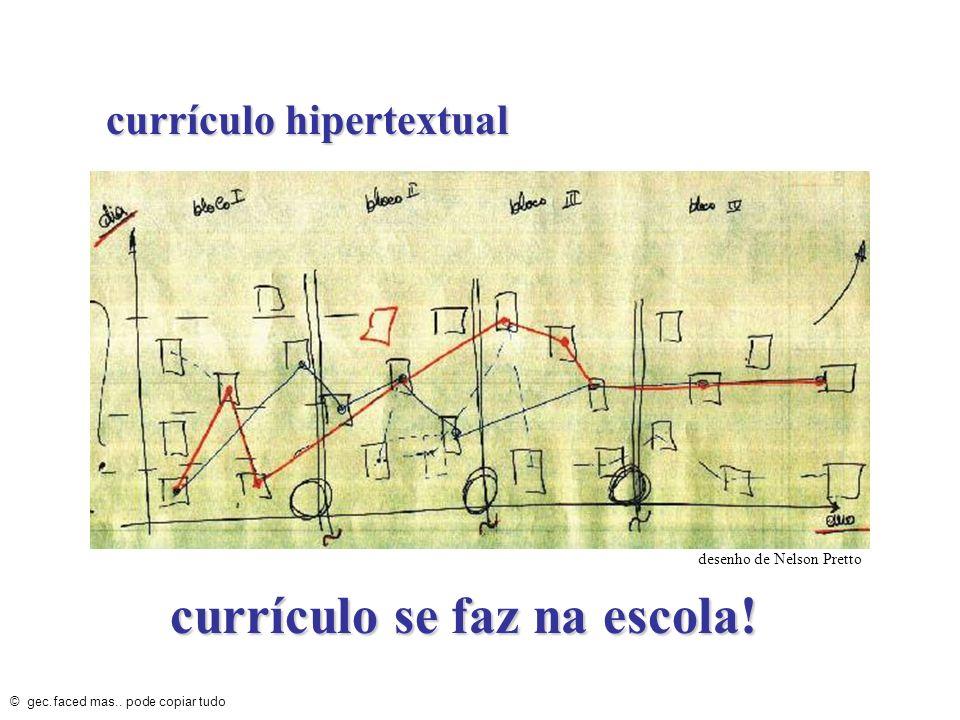 currículo hipertextual © gec.faced mas.. pode copiar tudo currículo se faz na escola! desenho de Nelson Pretto