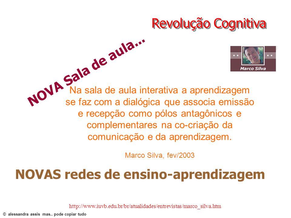 Revolução Cognitiva Na sala de aula interativa a aprendizagem se faz com a dialógica que associa emissão e recepção como pólos antagônicos e complemen