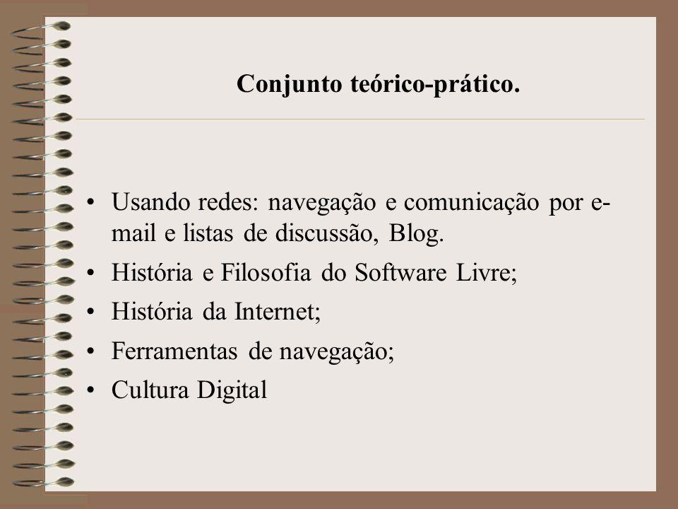 Conjunto teórico-prático. Usando redes: navegação e comunicação por e- mail e listas de discussão, Blog. História e Filosofia do Software Livre; Histó
