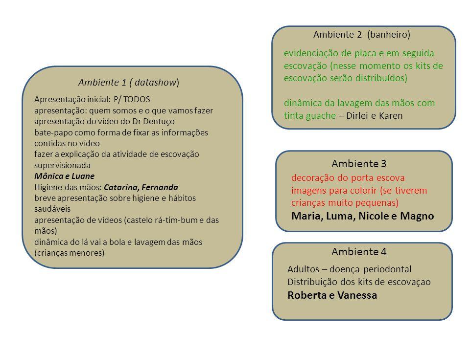 Ambiente 1 ( datashow) Ambiente 2 (banheiro) Ambiente 3 Ambiente 4 Adultos – doença periodontal Distribuição dos kits de escovaçao Roberta e Vanessa A