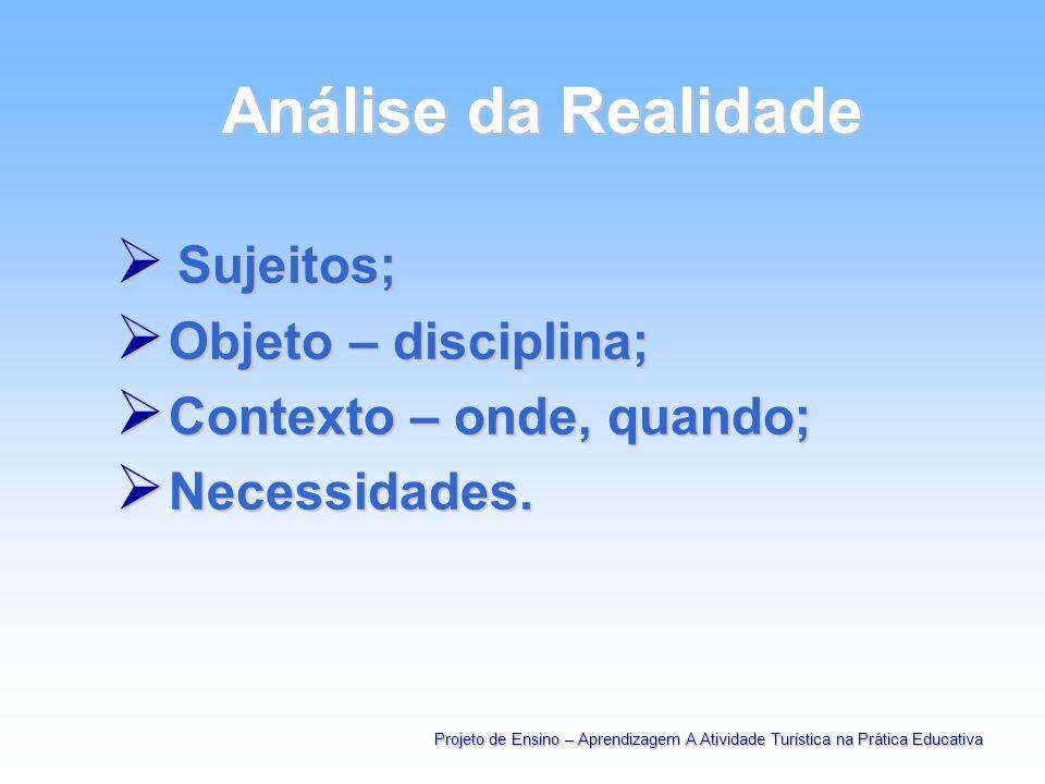 Análise da Realidade Análise da Realidade Sujeitos; Sujeitos; Objeto – disciplina; Objeto – disciplina; Contexto – onde, quando; Contexto – onde, quan
