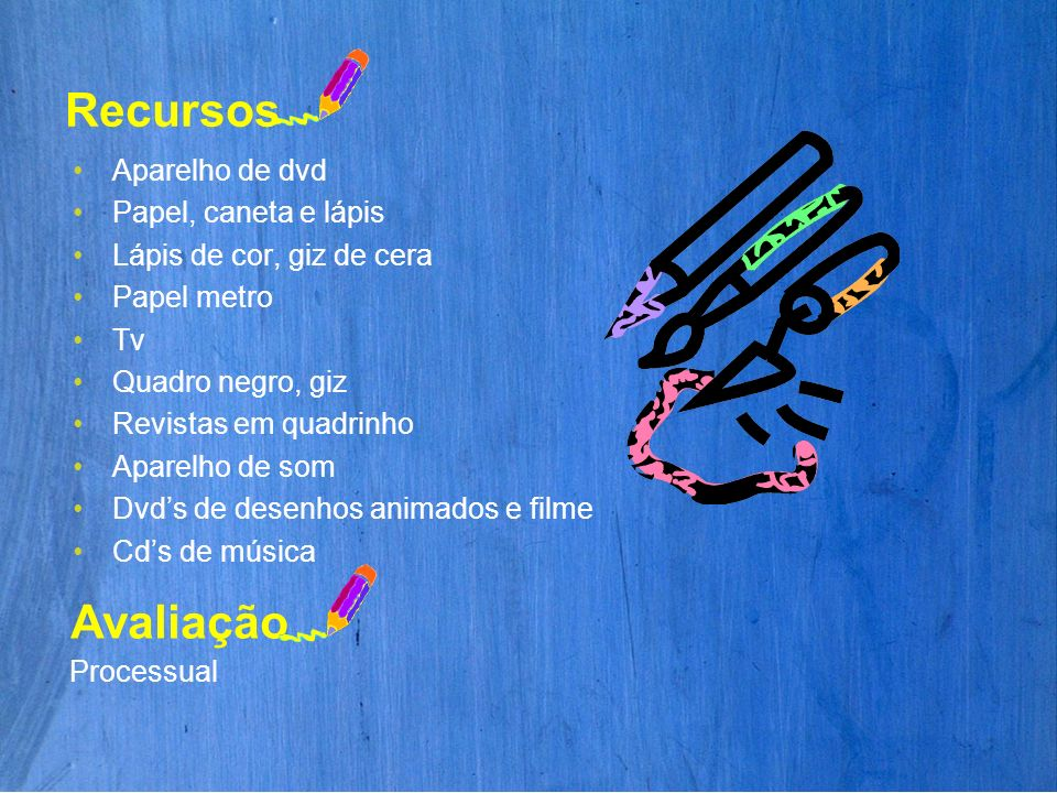 Aparelho de dvd Papel, caneta e lápis Lápis de cor, giz de cera Papel metro Tv Quadro negro, giz Revistas em quadrinho Aparelho de som Dvds de desenho