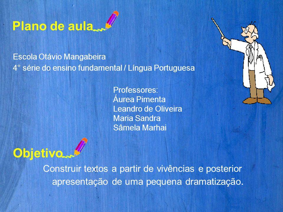 Plano de aula Escola Otávio Mangabeira 4° série do ensino fundamental / Língua Portuguesa Professores: Áurea Pimenta Leandro de Oliveira Maria Sandra