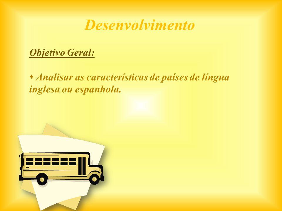 Objetivo Geral: Analisar as características de países de língua inglesa ou espanhola. Desenvolvimento