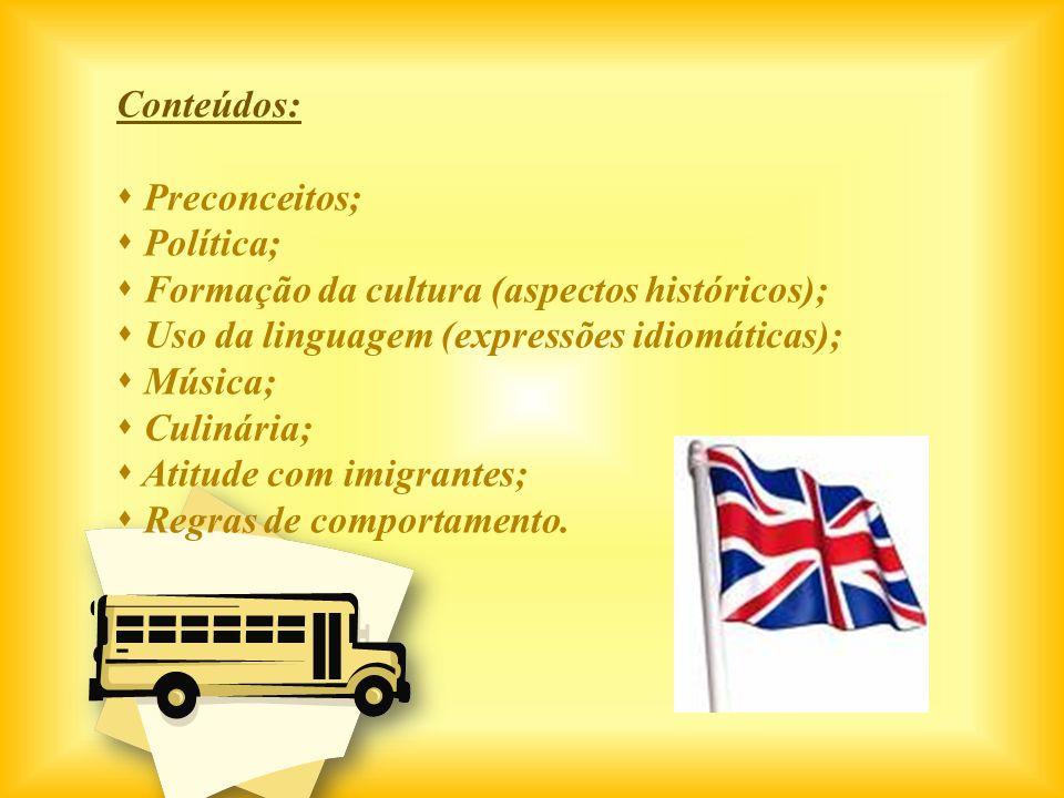 Conteúdos: Preconceitos; Política; Formação da cultura (aspectos históricos); Uso da linguagem (expressões idiomáticas); Música; Culinária; Atitude co