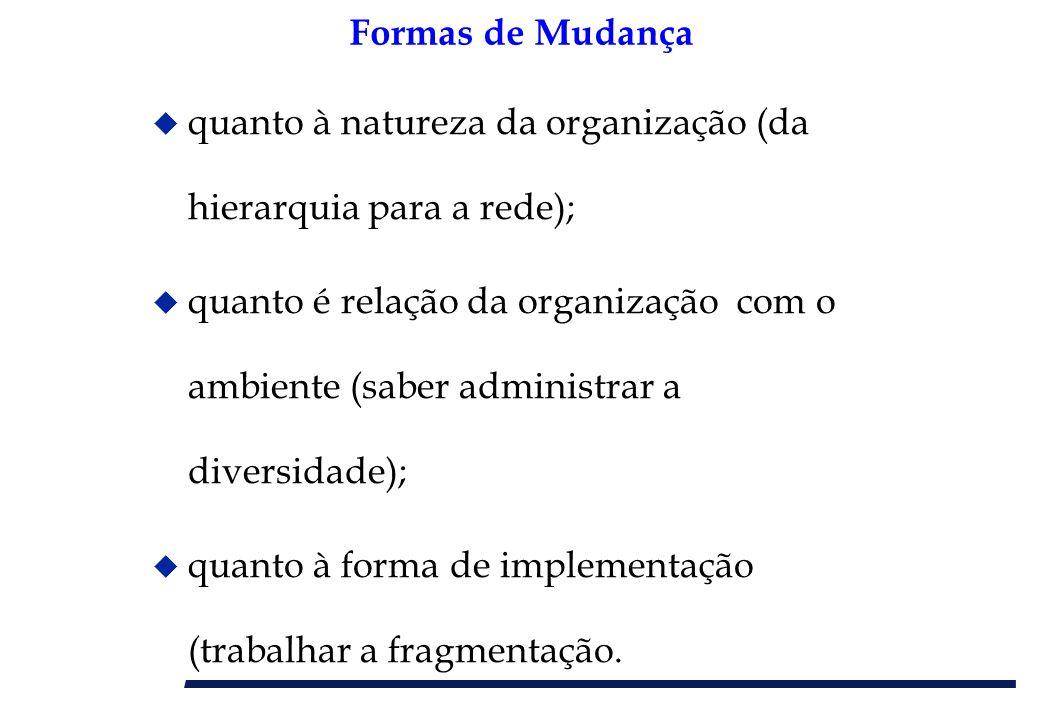 Formas de Mudança u quanto à natureza da organização (da hierarquia para a rede); u quanto é relação da organização com o ambiente (saber administrar