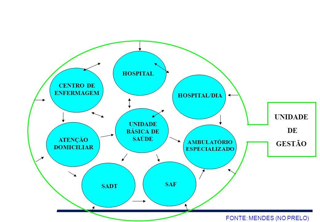 HOSPITAL HOSPITAL/DIA CENTRO DE ENFERMAGEM ATENÇÃO DOMICILIAR AMBULATÓRIO ESPECIALIZADO UNIDADE BÁSICA DE SAÚDE FONTE: MENDES (NO PRELO) UNIDADE DE GE