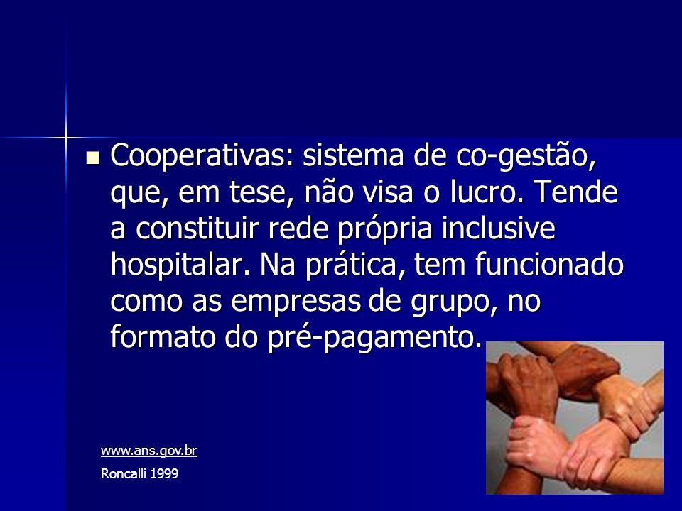 Cooperativas: sistema de co-gestão, que, em tese, não visa o lucro. Tende a constituir rede própria inclusive hospitalar. Na prática, tem funcionado c