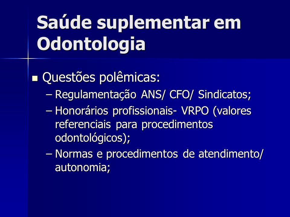 Questões polêmicas: Questões polêmicas: –Regulamentação ANS/ CFO/ Sindicatos; –Honorários profissionais- VRPO (valores referenciais para procedimentos