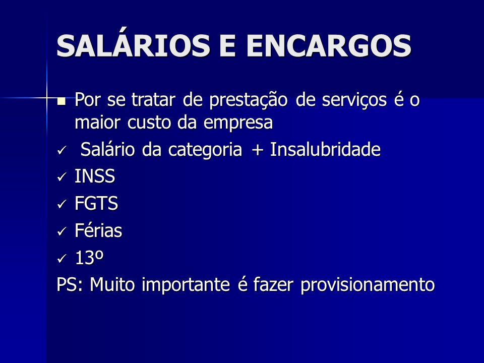 SALÁRIOS E ENCARGOS Por se tratar de prestação de serviços é o maior custo da empresa Por se tratar de prestação de serviços é o maior custo da empres