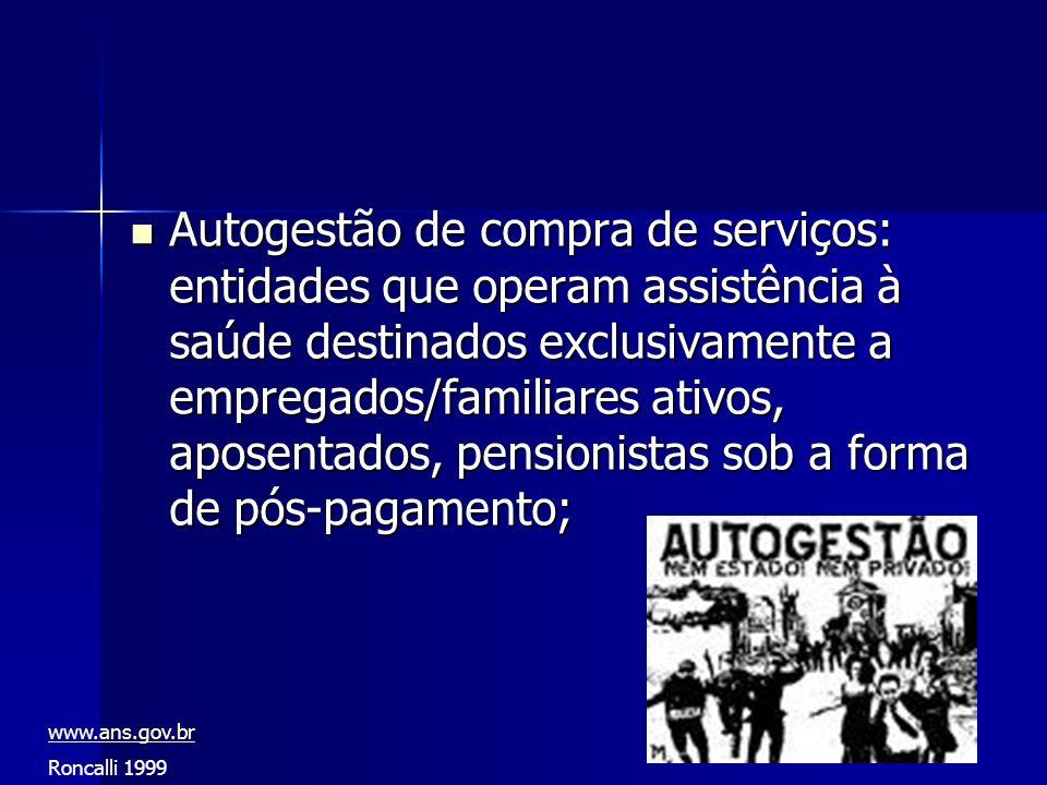 Autogestão de compra de serviços: entidades que operam assistência à saúde destinados exclusivamente a empregados/familiares ativos, aposentados, pens