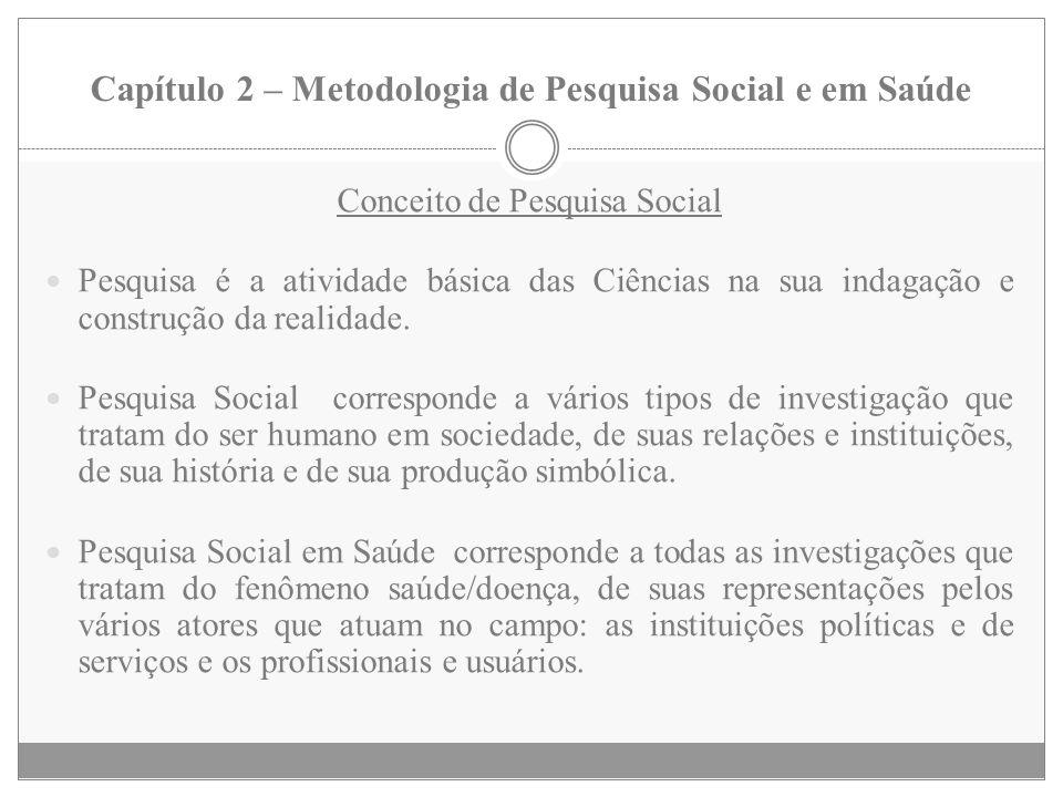 Capítulo 2 – Metodologia de Pesquisa Social e em Saúde Conceito de Pesquisa Social Pesquisa é a atividade básica das Ciências na sua indagação e const