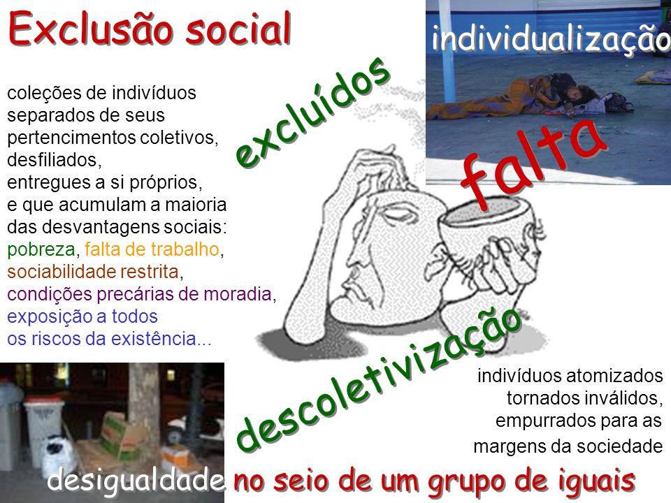 Exclusão social coleções de indivíduos separados de seus pertencimentos coletivos, desfiliados, entregues a si próprios, e que acumulam a maioria das