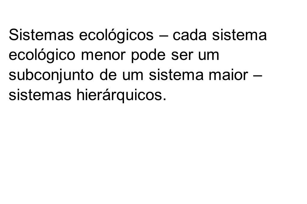 Sistemas ecológicos – cada sistema ecológico menor pode ser um subconjunto de um sistema maior – sistemas hierárquicos.