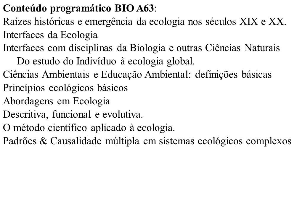 Conteúdo programático BIO A63: Raízes históricas e emergência da ecologia nos séculos XIX e XX. Interfaces da Ecologia Interfaces com disciplinas da B
