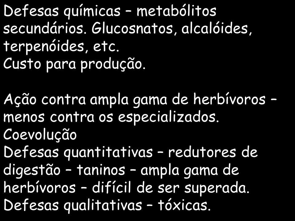 Defesas químicas – metabólitos secundários. Glucosnatos, alcalóides, terpenóides, etc. Custo para produção. Ação contra ampla gama de herbívoros – men