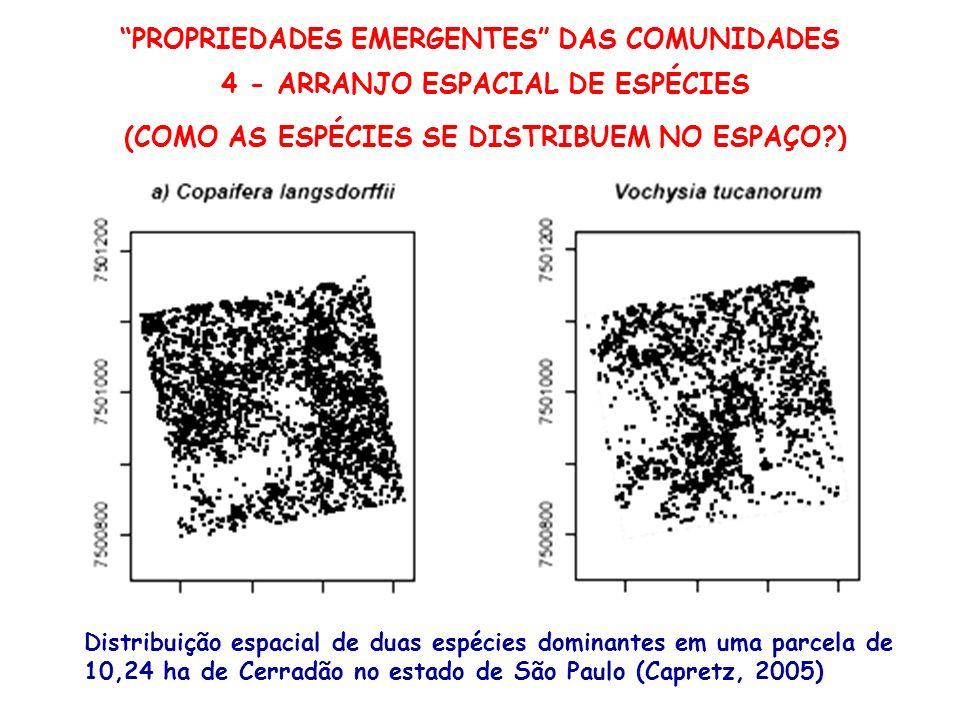 PROPRIEDADES EMERGENTES DAS COMUNIDADES 4 - ARRANJO ESPACIAL DE ESPÉCIES (COMO AS ESPÉCIES SE DISTRIBUEM NO ESPAÇO?) Distribuição espacial de duas esp