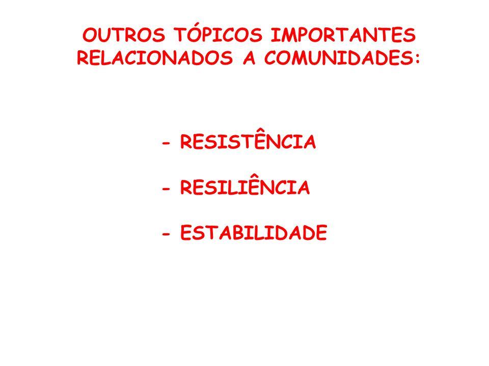 OUTROS TÓPICOS IMPORTANTES RELACIONADOS A COMUNIDADES: - RESISTÊNCIA - RESILIÊNCIA - ESTABILIDADE