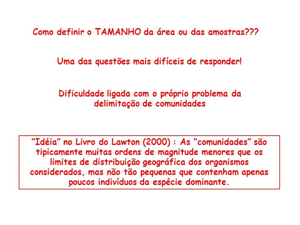 Idéia no Livro do Lawton (2000) : As comunidades são tipicamente muitas ordens de magnitude menores que os limites de distribuição geográfica dos orga