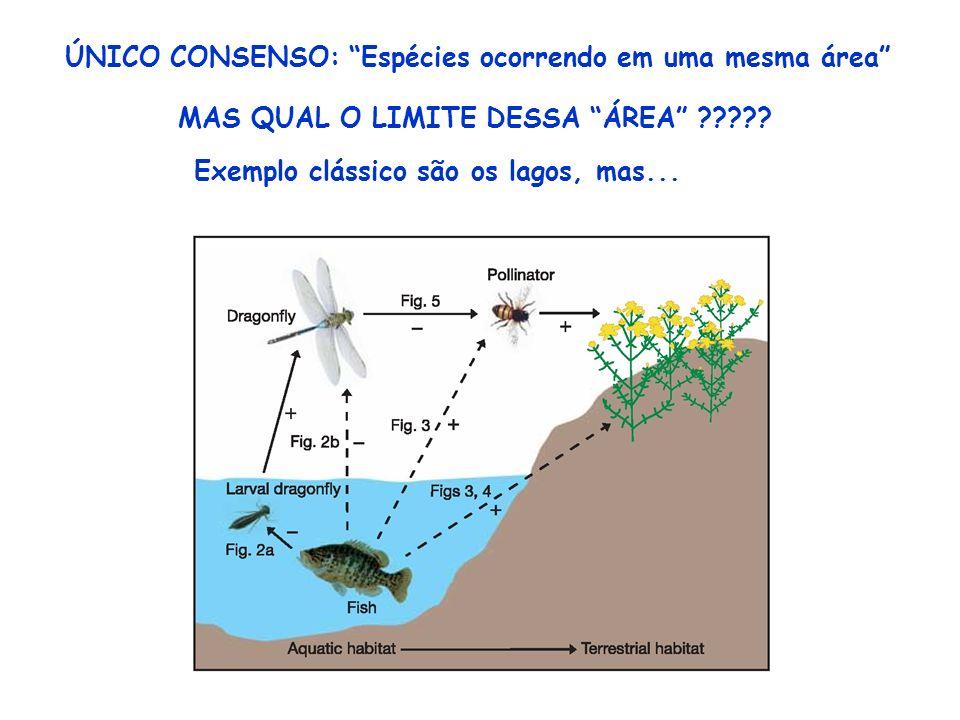 ÚNICO CONSENSO: Espécies ocorrendo em uma mesma área MAS QUAL O LIMITE DESSA ÁREA ????? Exemplo clássico são os lagos, mas...