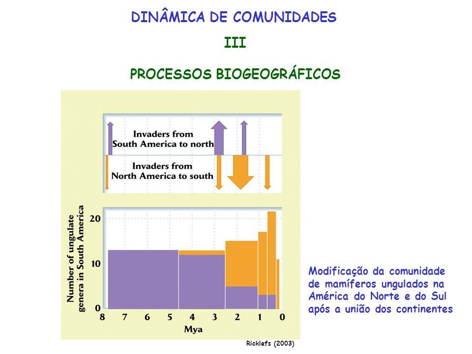 DINÂMICA DE COMUNIDADES III PROCESSOS BIOGEOGRÁFICOS Modificação da comunidade de mamíferos ungulados na América do Norte e do Sul após a união dos co