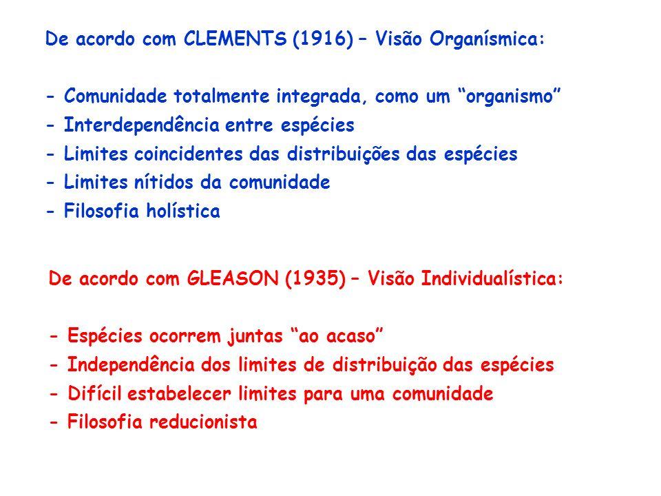 De acordo com CLEMENTS (1916) – Visão Organísmica: - Comunidade totalmente integrada, como um organismo - Interdependência entre espécies - Limites co