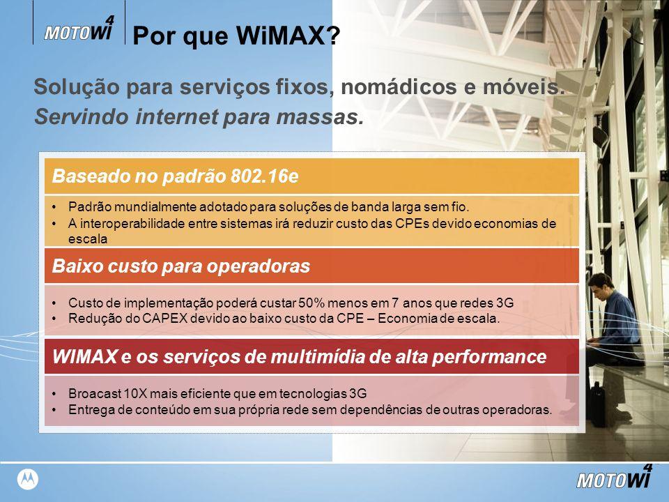 TM Por que WiMAX? Padrão mundialmente adotado para soluções de banda larga sem fio. A interoperabilidade entre sistemas irá reduzir custo das CPEs dev