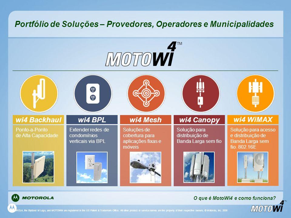 TM Portfólio de Soluções – Provedores, Operadores e Municipalidades TM O que é MotoWi4 e como funciona? wi4 Mesh Soluções de cobertura para aplicações