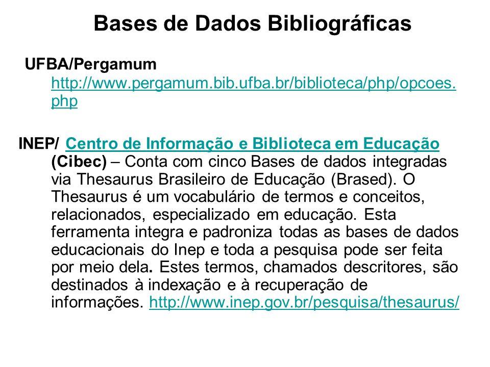 Bases de Dados Bibliográficas UFBA/Pergamum http://www.pergamum.bib.ufba.br/biblioteca/php/opcoes. php http://www.pergamum.bib.ufba.br/biblioteca/php/
