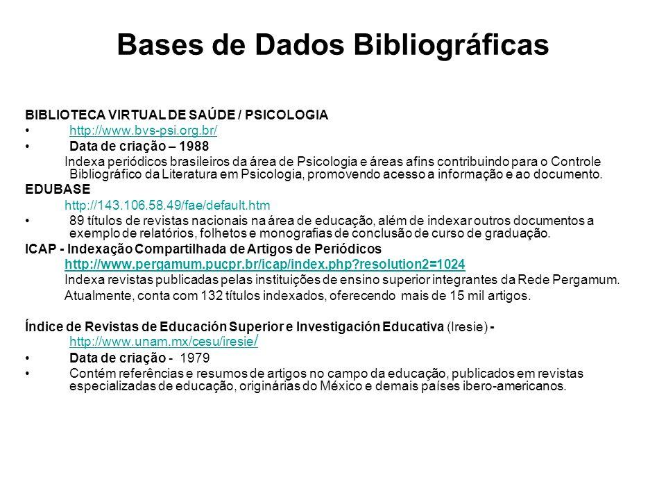 Bases de Dados Bibliográficas BIBLIOTECA VIRTUAL DE SAÚDE / PSICOLOGIA http://www.bvs-psi.org.br/ Data de criação – 1988 Indexa periódicos brasileiros