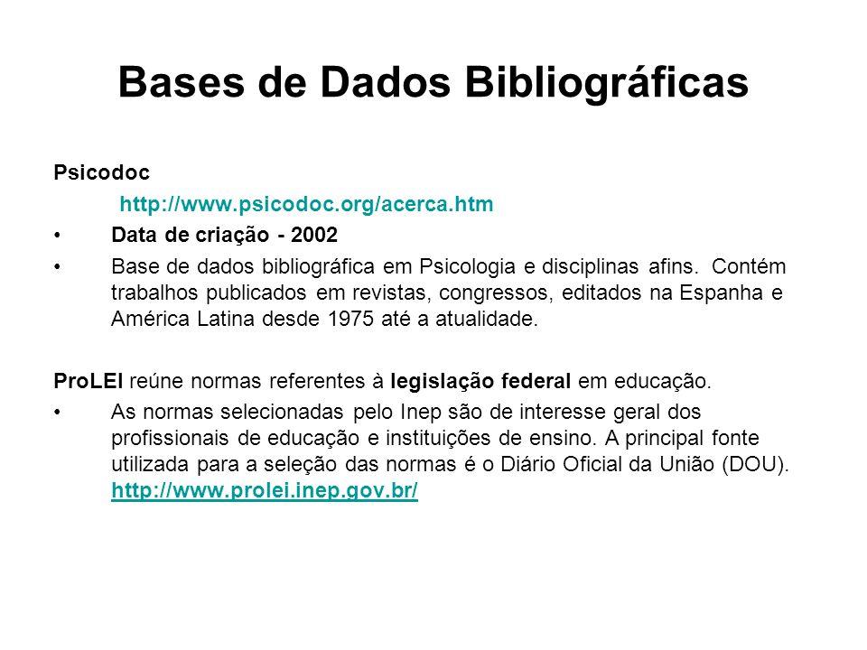 Bases de Dados Bibliográficas Psicodoc http://www.psicodoc.org/acerca.htm Data de criação - 2002 Base de dados bibliográfica em Psicologia e disciplin