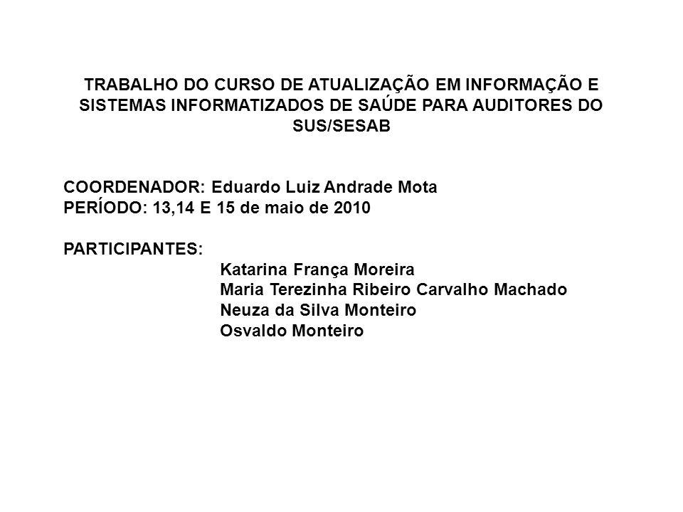 TRABALHO DO CURSO DE ATUALIZAÇÃO EM INFORMAÇÃO E SISTEMAS INFORMATIZADOS DE SAÚDE PARA AUDITORES DO SUS/SESAB COORDENADOR: Eduardo Luiz Andrade Mota P